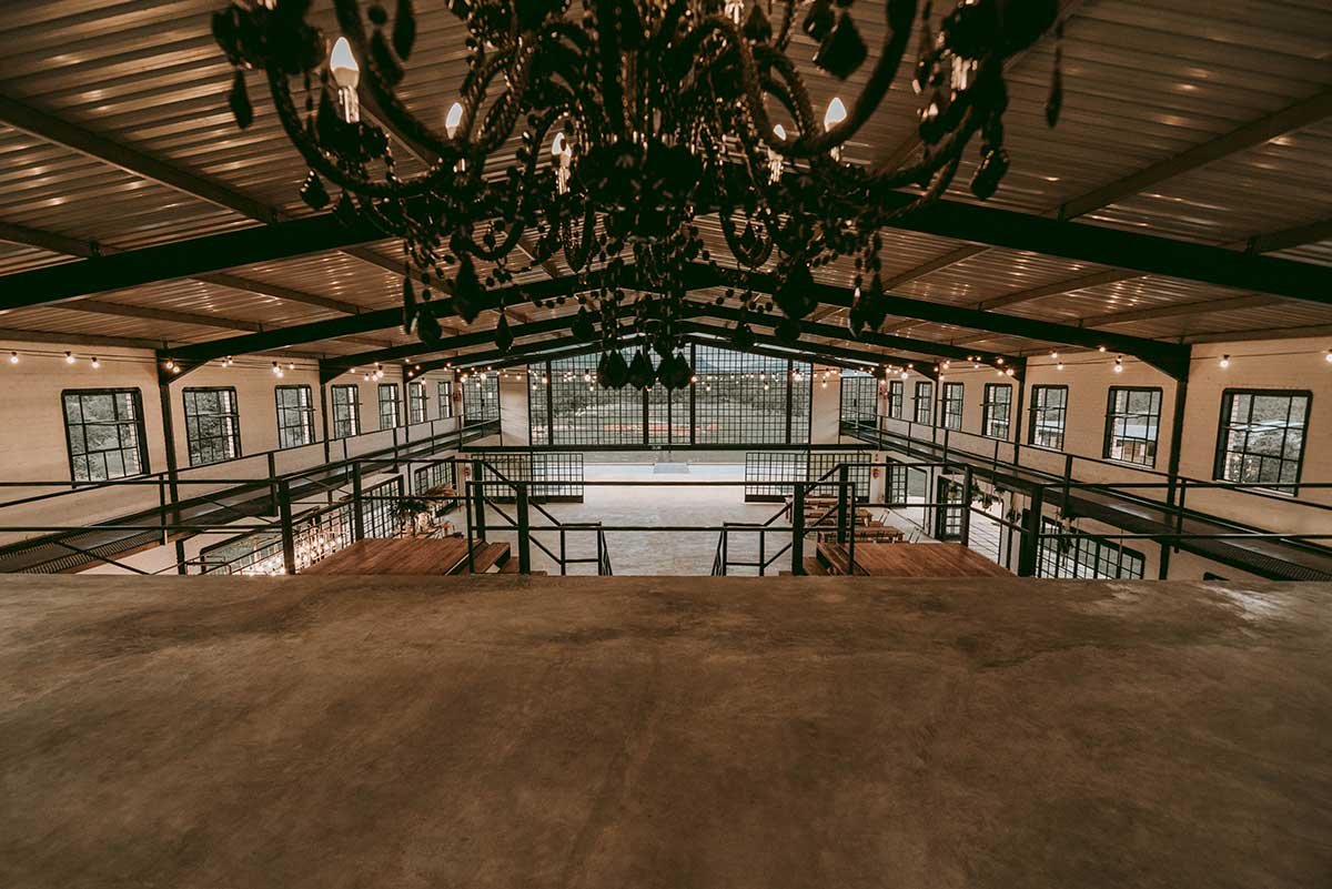 The Nut Farm Inside the Venue with the Chandelier