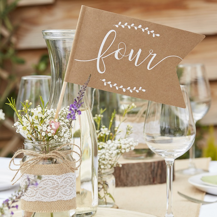 Flag and Stand Wedding Table Number Idea