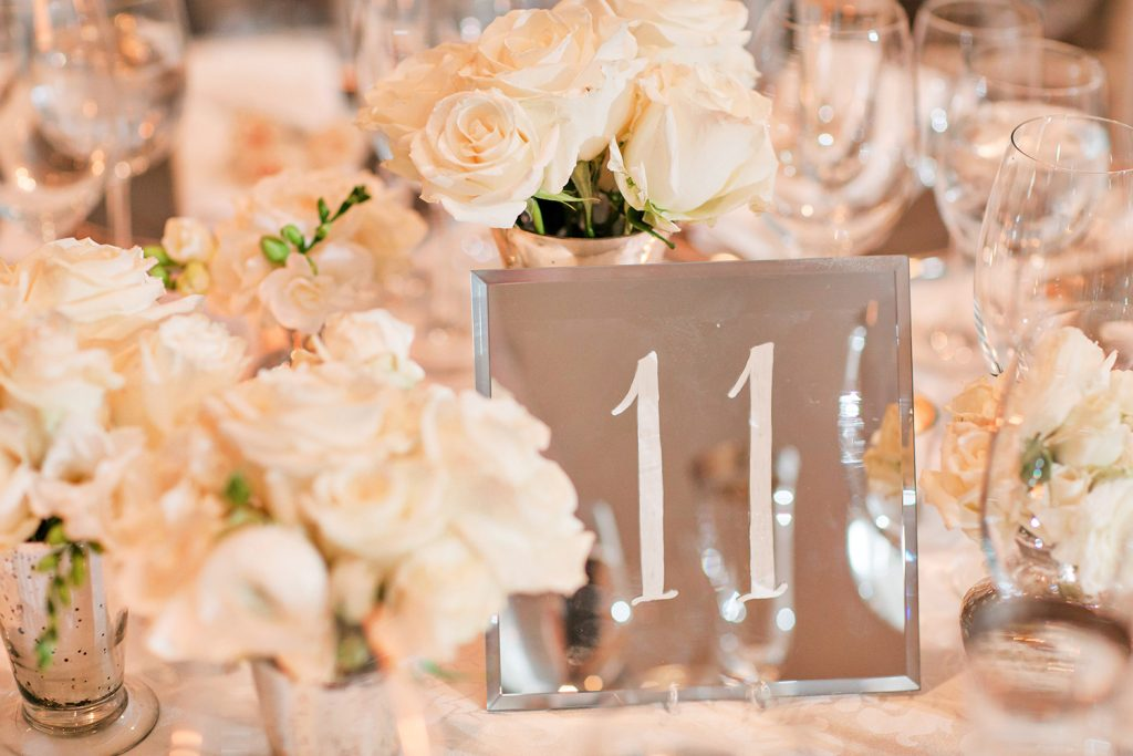 Mirrors Wedding Table Number Idea